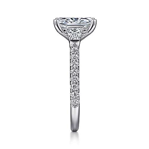Sheryl 14k White Gold Emerald Cut 3 Stones Engagement Ring angle 5