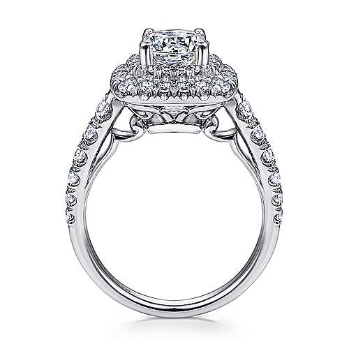 Sheyna 14k White Gold Round Double Halo Engagement Ring angle 2