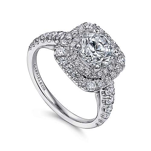 Sheyna 14k White Gold Round Double Halo Engagement Ring angle 3