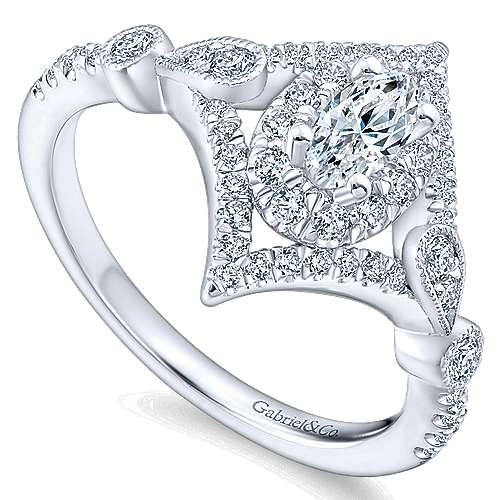 Shiby 14k White Gold Oval Halo Engagement Ring angle 3