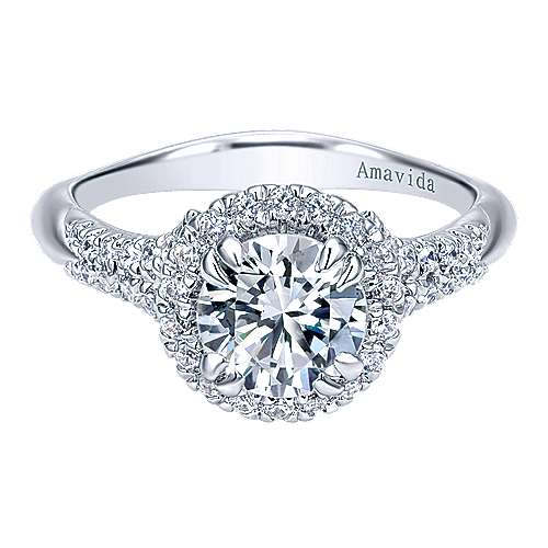 Gabriel - Shimmer 18k White Gold Round Halo Engagement Ring