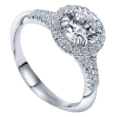 Shimmer 18k White Gold Round Halo Engagement Ring angle 3