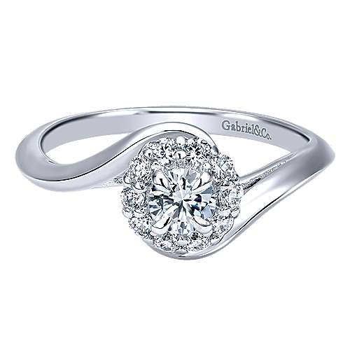 Gabriel - Shine 14k White Gold Round Halo Engagement Ring