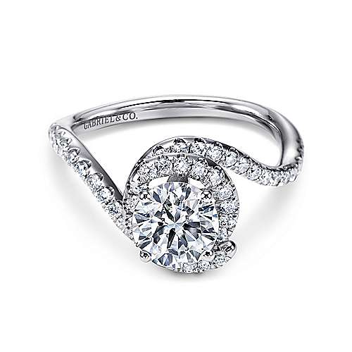 Gabriel - Sia 14k White Gold Round Bypass Engagement Ring