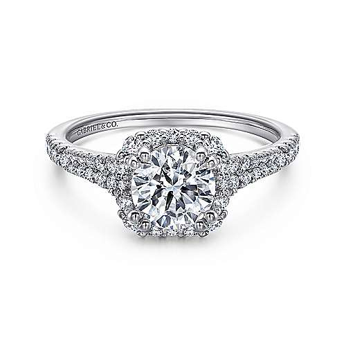 Gabriel - Sierra 18k White Gold Round Halo Engagement Ring