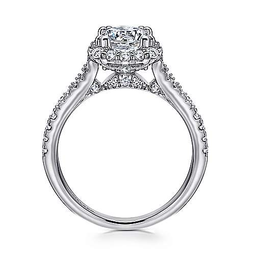 Sierra 18k White Gold Round Halo Engagement Ring angle 2