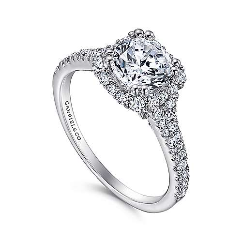 Sierra 18k White Gold Round Halo Engagement Ring angle 3