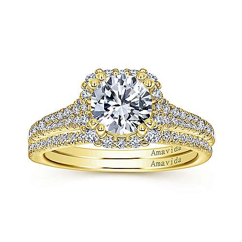 Sierra 18k Yellow Gold Round Halo Engagement Ring angle 4