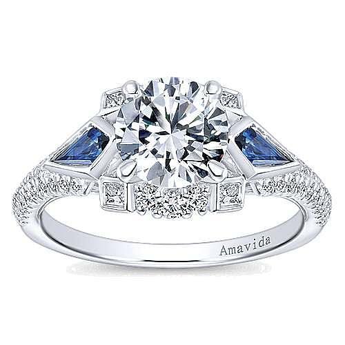 Silk 18k White Gold Round 3 Stones Engagement Ring angle 5