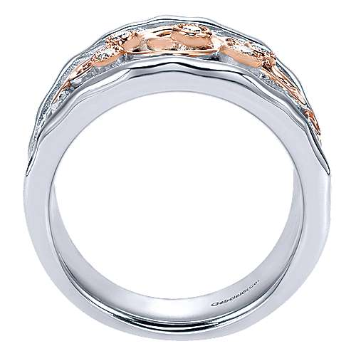 Silver/18K Rose Gold Embossed Scrollwork Diamond Wide Band Ring