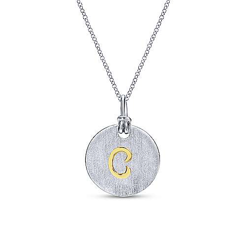 Silver 18K Yellow C Initial Round Disk Necklace