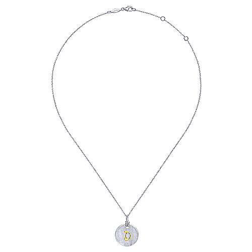 Silver 18K Yellow D Initial Round Disk Necklace