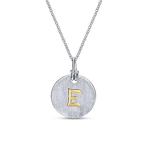 Silver 18K Yellow E Initial Round Disk Necklace