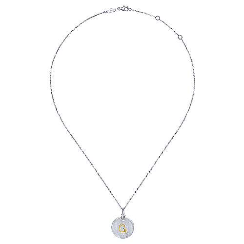 Silver 18K Yellow G Initial Round Disk Necklace