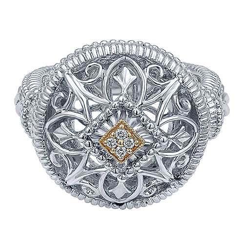 Gabriel - Silver-18K Yellow Gold  Fashion Ladies' Ring