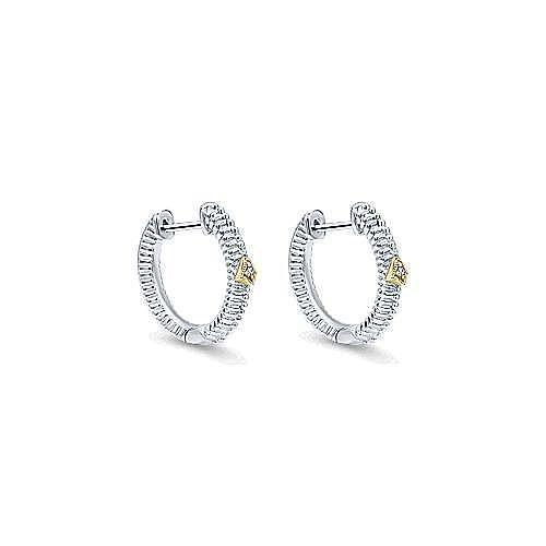 Silver-18K Yellow Gold 10MM Fashion Earrings