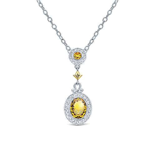 Silver-18K Yellow Gold Citrine Drop Pendant Necklace