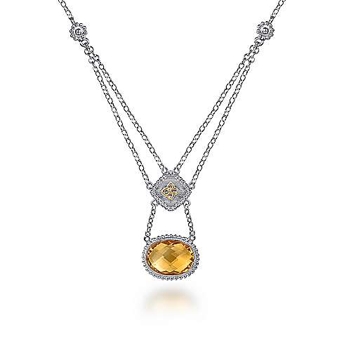 Silver-18K Yellow Gold Citrine Necklace