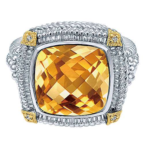 Silver-18K Yellow Gold Cushion Cut Citrine Fashion Ring