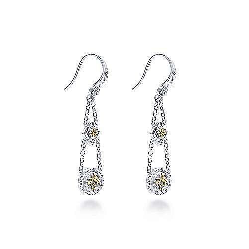 Silver-18K Yellow Gold Fashion Earrings