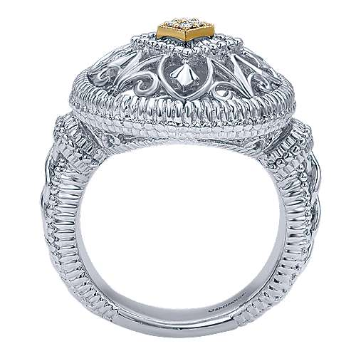 Silver-18K Yellow Gold Fashion Ladies Ring