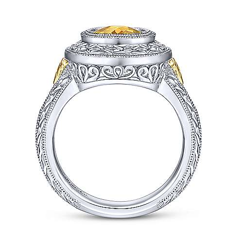 Silver-18K Yellow Gold Oval Citrine Fashion Ring