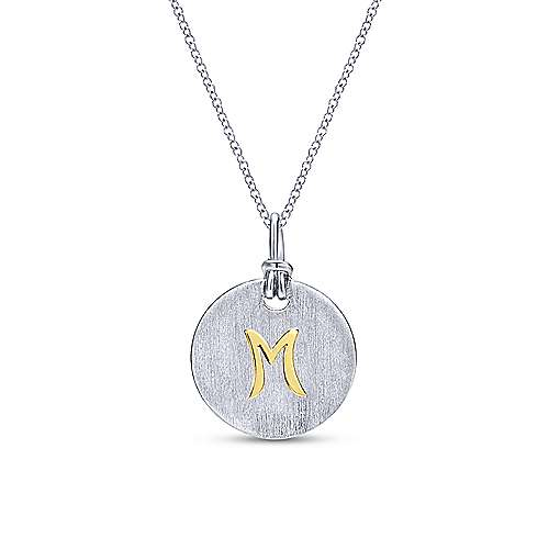 Silver 18K Yellow M Initial Round Disk Necklace