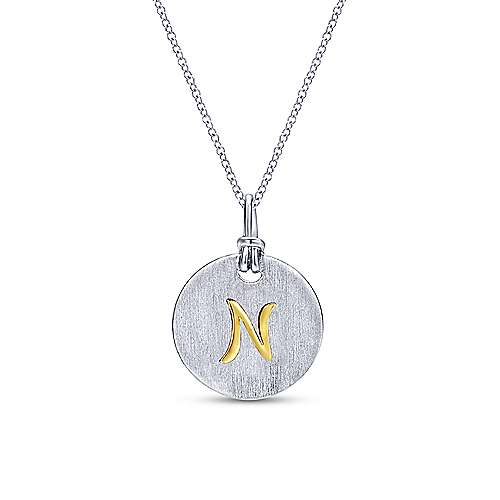Silver 18K Yellow N Initial Round Disk Necklace