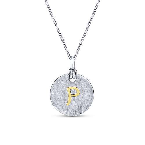Silver 18K Yellow P Initial Round Disk Necklace