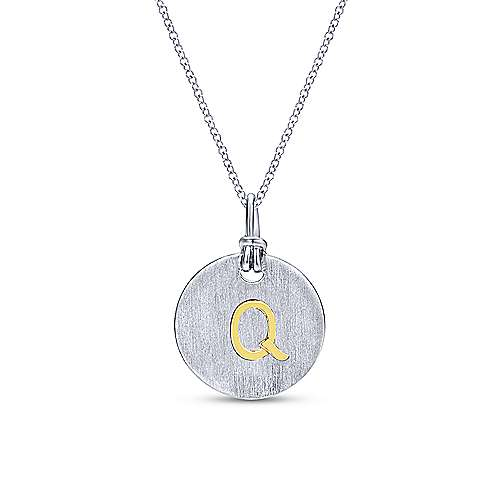Silver 18K Yellow Q Initial Round Disk Necklace