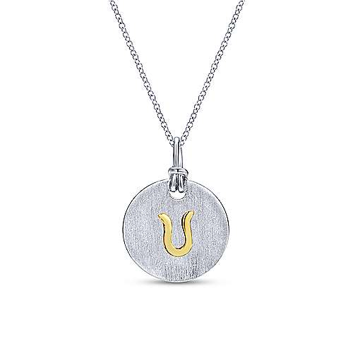 Silver 18K Yellow U Initial Round Disk Necklace