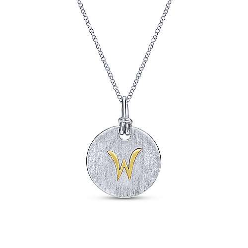 Silver 18K Yellow W Initial Round Disk Necklace