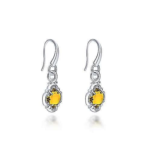 Silver Citrine Flower Drop Earrings