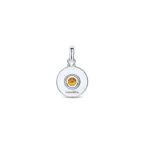 Silver Citrine Round Fashion Pendant