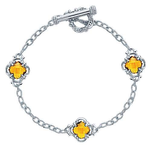 Silver Citrine Station Bracelet