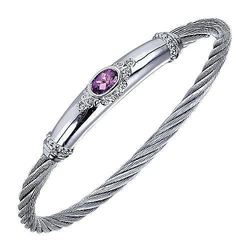Silver Diamond & Amethyst Bangle