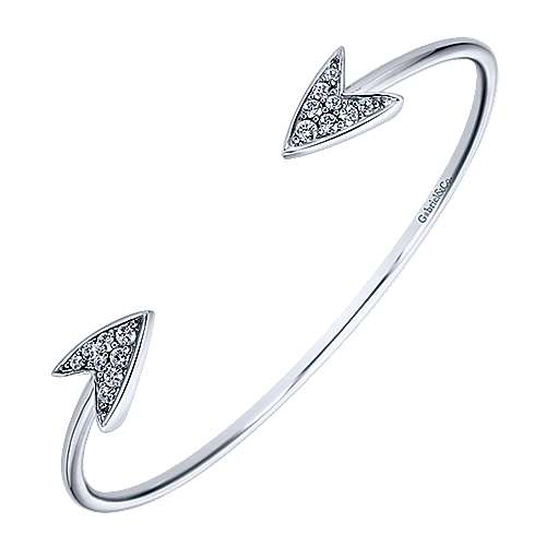 Silver Heart and White Sapphire Bangle