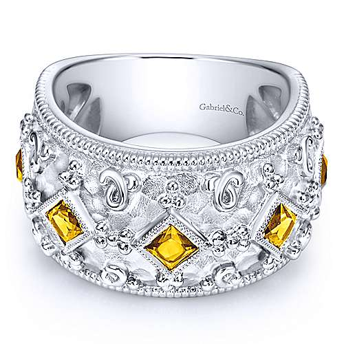 Silver Princess Cut Citrine Fashion Ring