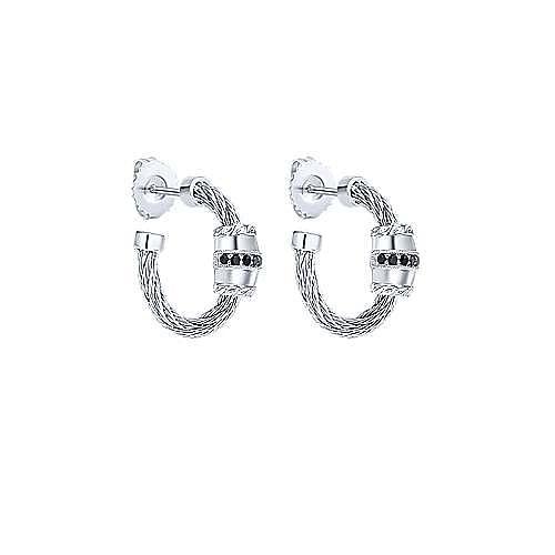 Gabriel - Silver-Stainless Steel 20MM Black Fashion Earrings