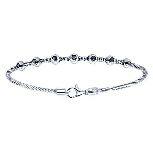 Silver-Stainless Steel Black Fashion Bracelet