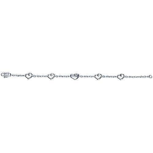 Silver White Sapphire Heart Bracelet