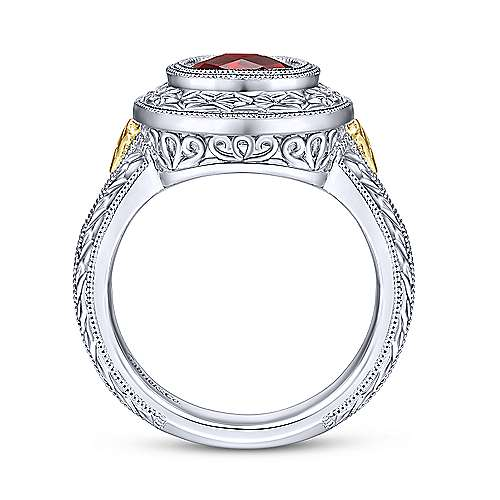 Silver and Yellow Gold GN - Garnet Ladies Ring