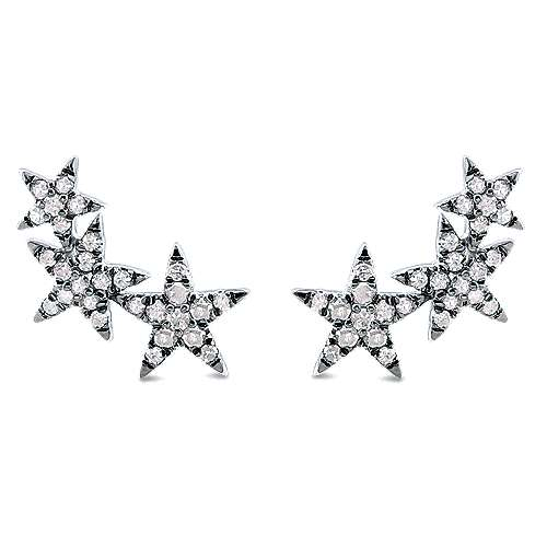 Silver with Black Rhodium Triple Graduating Stars Diamond Stud Earrings