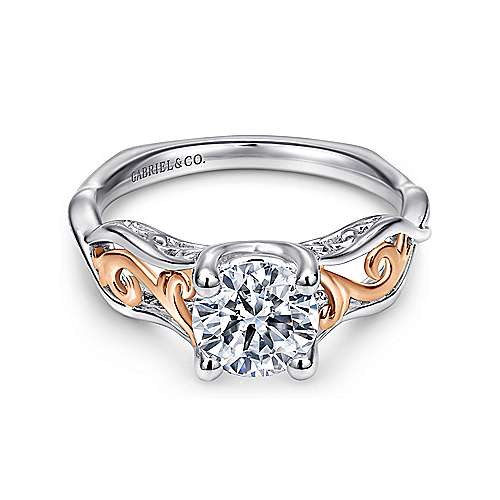 Gabriel - Silvia 18k White And Rose Gold Round Twisted Engagement Ring