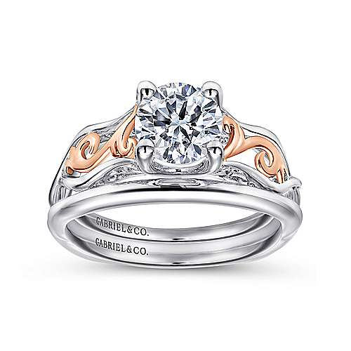 Silvia 18k White And Rose Gold Round Twisted Engagement Ring angle 4