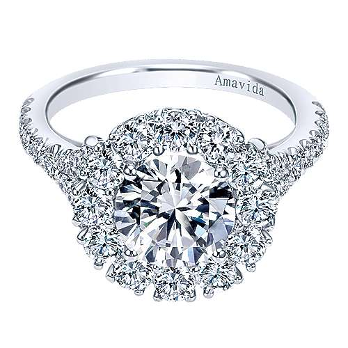 Gabriel - Sincere 18k White Gold Round Halo Engagement Ring
