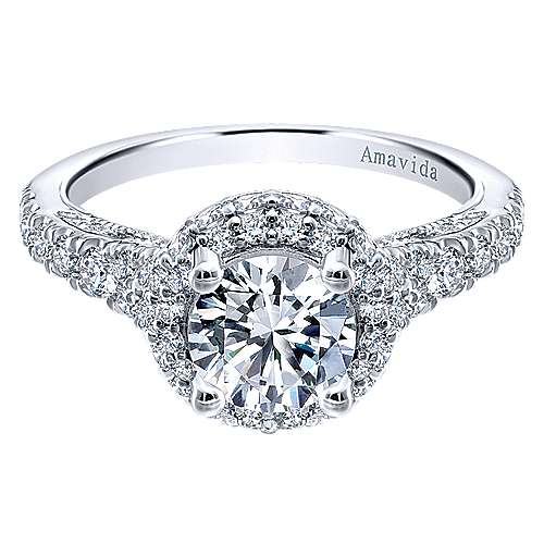 Gabriel - Sirene 18k White Gold Round Double Halo Engagement Ring