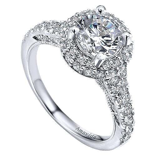 Sirene 18k White Gold Round Double Halo Engagement Ring angle 3