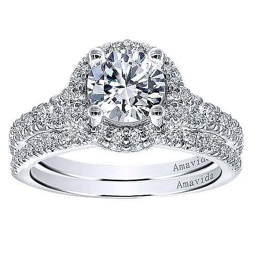 Sirene 18k White Gold Round Double Halo Engagement Ring angle 4