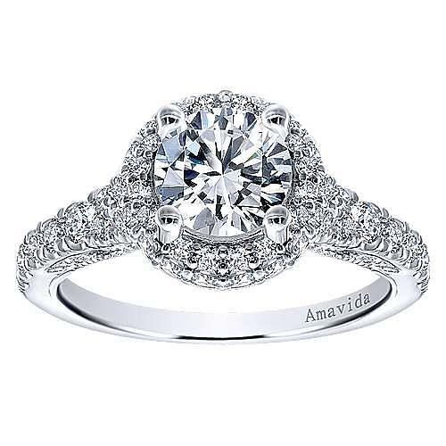 Sirene 18k White Gold Round Double Halo Engagement Ring angle 5
